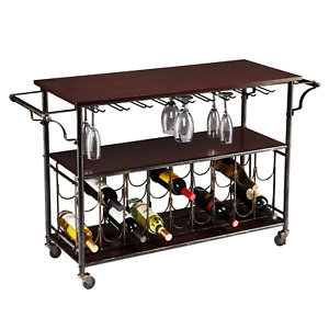 Industrial Black iron Portable Trolley Wine Bar Serving Cart Man Cave 3 Level