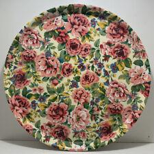 KELSEY MELAMINE ROUND FLORAL PINK ROSES SERVING TRAY