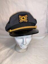 Vintage Boat Ship Yacht Skipper Captain Hat Cap Black Gold size 6 1/2 6 3/4 7