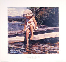 "Steve Hanks(1949-2015) ""Getting Her Feet Wet"" hand signed in silver17.5""x16.5"""