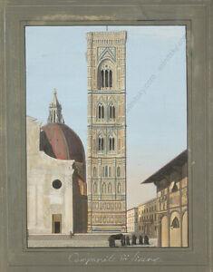 """Campanile Di Firenze"" Gouache over Aquatinta, by Giustino Carocci (b.1829)"