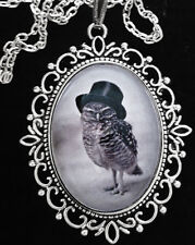 Victorian Owl Top Hat Antique Silver Pendant Necklace Goth Steampunk Unusual