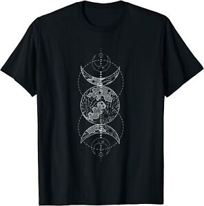 Triple Moon Wiccan Pagan Goddess Witch Wicca Witchcraft T-Shirt Black S-5XL
