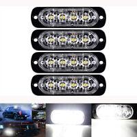 4x 4 LED White Car Recovery Flashing Grille Beacon Warning Strobe Lights 12V-24V
