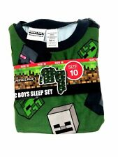 Minecraft Boys Pajamas 2-pc Set Creeper and Enderman Green Size 6 f530c976a