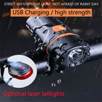Rechargeable Head Led Lamp Rear Front Flashlight with Holder For Mountain Bike