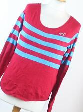 Hollister Red Striped Cotton Blend Womens Basic Tee Size XS (Regular)
