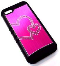 for iPhone 5c Hot Pink Metal Bling Hearts Hard &Soft Hybrid Rubber Koolkase Case