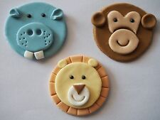 12 x Zoo animals CUPCAKE TOPPERS edible Jungle Birthday Cake MONKEY LION HIPPO