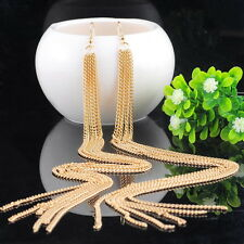 1Pair Golden Jewelry Noble Tassels Design Long Ear Drop Dangle Earrings Chic