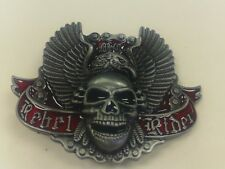 """REBEL RIDE SKULL HEAD WITH EAGLE BELT BUCKLE PEWTER FINISH approx size 3"""" by 3"""""""