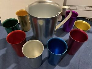 Retro Aluminum Metal Pitcher Colorful with 8 Tumbler Cups Vintage Nice