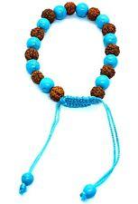 Adjustable Rudraksha Turquoise Bracelet Essential Oil Anxiety Stress Unisex UK
