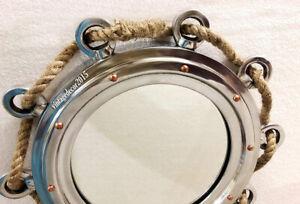 "16"" Nautical Marine Silver color  Rope Porthole With Aluminum Glass  Home Decora"
