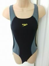 """LADIES SPEEDO SIZE 36"""" BLACK AND GREY OPEN BACK SWIMMING COSTUME MINT CONDITION"""