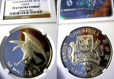 Singapore 1974 10 Dollars, Gem Proof NGC Proof 67, Rare Cameo, 5,000 Mintage