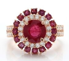 3.20 Carat Natural Red Ruby and Diamonds in 14K Solid Rose Gold Women Ring