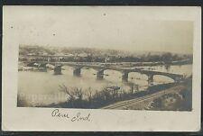 IN Peru RPPC 1906 TOWN VIEW Concrete Arch Bridge & RR Railroad Tracks