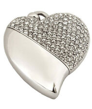 Heart Shaped w. Crystal Design, USB Brass Funeral Cremation Urn Pendant Necklace