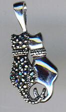 """925 argento sterling marcasite & PLAIN fianco a fianco TWIN CAT CIONDOLO Lunghezza 1 """""""