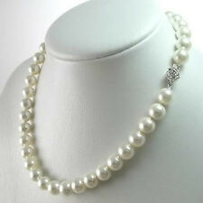 8MM White South Sea Shell Pearl Gemstones Round Beads Flower Clasp Necklace 18""