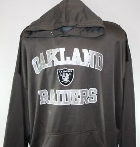 NEW Mens NFL Majestic Oakland Raiders Granite Heart & Soul Poly Pullover Hoodie
