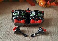 Vtg Shafford Redware Black Cat Condiment Set With Spoon Lids Green Eyes Japan