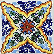 "40 Mexican Talavera TILES Ceramic 6x6"" Stairs Backsplash C327"