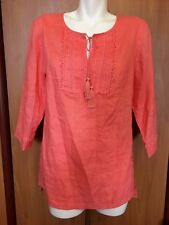 Jones NY Women Long Top Blouse Tunic Medium M Pure Linen Coral 3/4 Sleeve NWT
