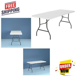 6 Ft Folding Table Centerfold Portable Plastic Home Indoor Outdoor Picnic Party