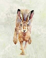 HELEN APRIL ROSE Fine Art Print of my HARE WATCHING animal art watercolour 500