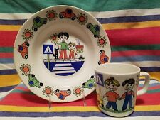 Vintage FIGGJO SAFE TRAFFIC Childs (Bowl and Cup) Dinner set MADE IN NORWAY