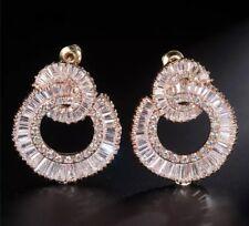 18k Rose Gold GF Hoop Earrings made w Swarovski Crystal Baguette Stone Trendy