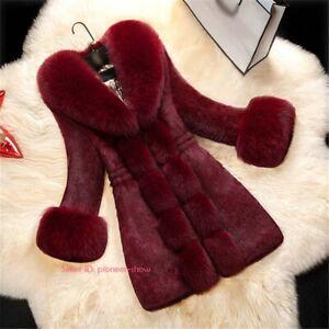 Women Winter Cozy Luxury Faux Fox Fur Jacket Coat Long Overcoat Warm Thick Parka