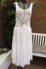 été robe tricotée crochet bömmel Robe chasuble HIPPIE Ibiza blanc 36 38 40