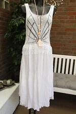 Summer Knitted Dress Crochet Pompom Strap Dress Hippie Ibiza White 36 38 40