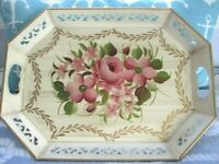 Hand Painted Pink Roses Impatiens Violets Gold Swags Vanilla Cream Tole Tray