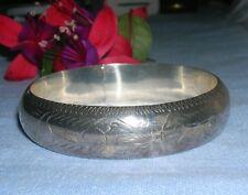 Beautiful Sterling Silver Diamond Etched Bracelet ~ 925 Vintage 15mm wide  Bangl