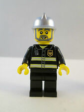 Lego Minifigure Town City - Fire Station Captain with Silver Helmet 7239