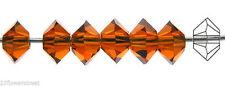 36 Czech MC Spacer Beads (Squished Diamond shape 5305) 3x5mm, Dark Topaz color