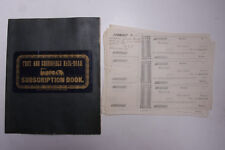1850 Lamson Goodnow Troy Greenfield Rail Road Subscription Book Ephemera L770K