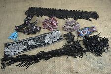 Collection of vintage bead appliques fringing trims embellishments craft