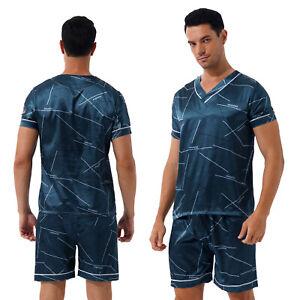 Men Silk Satin Pajamas Set Short Sleeve Top Sleepwear Nightwear Loungewear