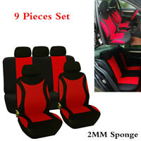 Black+Red Polyester Seat Cover 9Pcs/Set Car Interior Styling Cushion Accessories