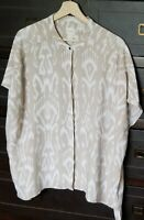 Chico's Womens Geo Print Blouse Top Short Sleeve Loose Fit Plus Size Size 2.5/14