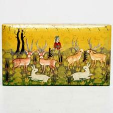 VINTAGE KASHMIR INDIA HAND MADE & PAINTED TRINKET BOX W/ HUNTING FOREST SCENE