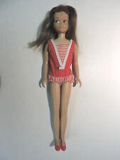 Vtg. 950 Straight Leg Skipper Doll w/ Original Stripe Swimsuit, Red Japan Shoes