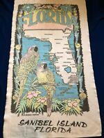 Sanibel Island Florida Beach Towel Vintage State Map Parrots Terrycloth USA