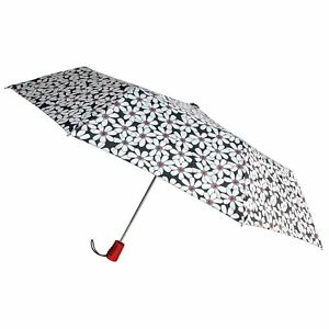 "Totes Automatic Umbrella 42"" White Flower Auto Open Rain Sun Travel Compact Mini"