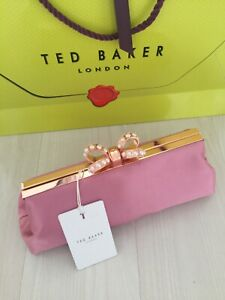 """Ted Baker """"GEORGAA"""" Pink Clutch Bag Bow Pearl Clasp RRP £99  Perfect Gift : New"""